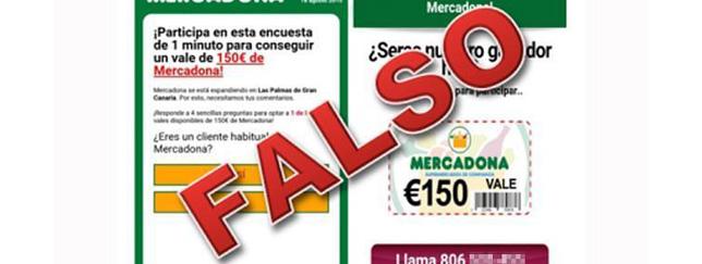 Un falso vale de Mercadona de 150 euros que esconde un virus